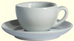 IPA  Milano White Latte Cup 300 ml with curved side.