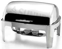 Sunnex Elite rectangular chafer, full size with Roll top for Gel Fuel.