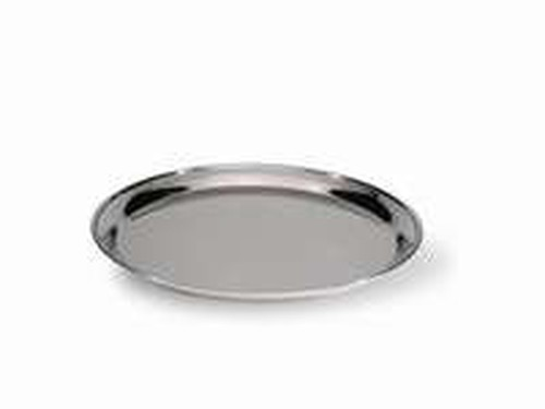 Stainless Steel polished round tray, 30cm diameter