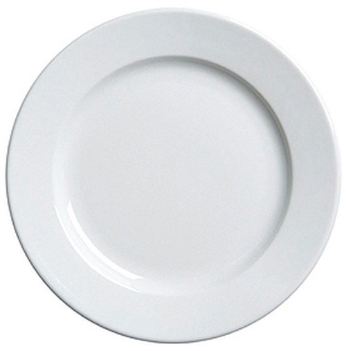 Duraceram White Round lunch Plate, wide rim, 233mm