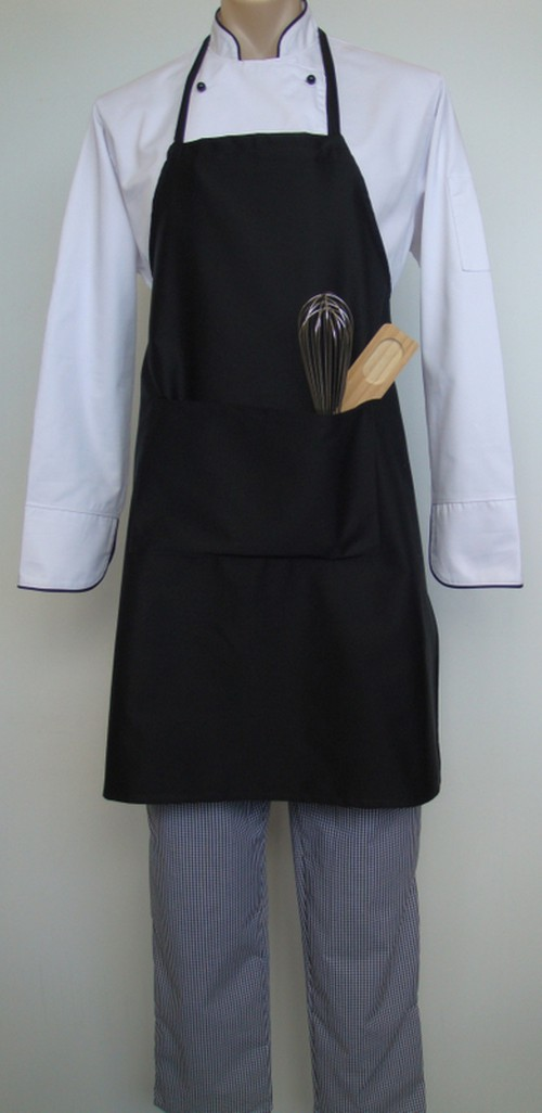 Bib apron polycotton, pocket, black