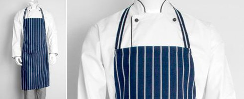 Chefs bib apron with thin vertical white stripes without pocket.