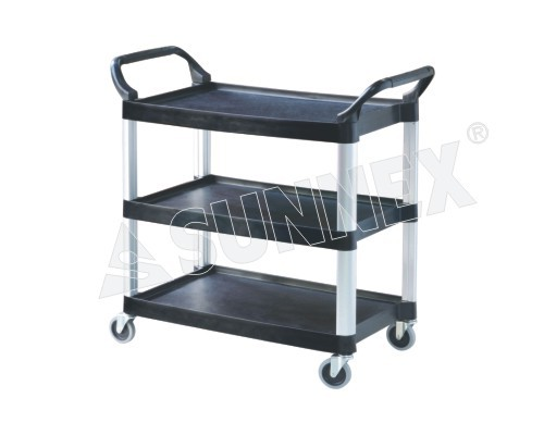 Trolley, 3 tier black plastic and alloy frame, 106x48x100 cm.