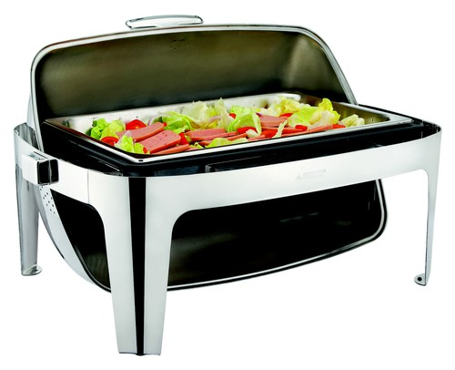 Sunnex 82 series rectangular electric chafer, full size with Roll top.