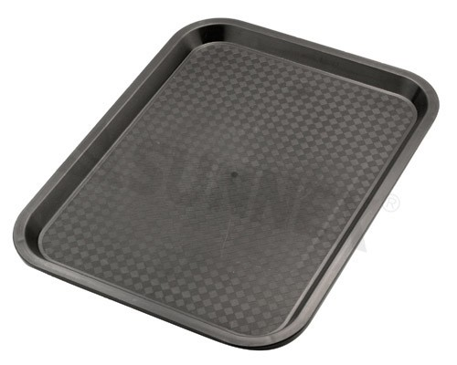 Rectanglar fast food cafe tray, polypropylene plastic, 45.5x35.5cm, black