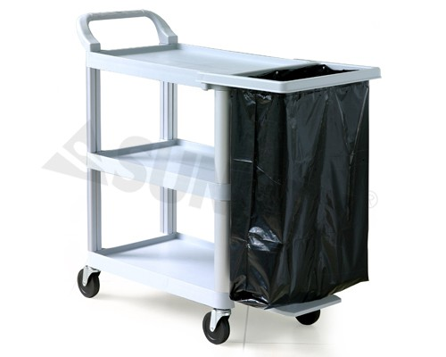 Trolley, 3 tier plastic and alloy frame, grey, 100x38x88 cm.