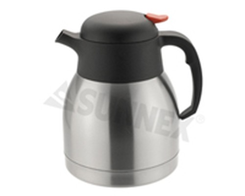 Push Button Vacuum Jug, stainless steel body, 1L