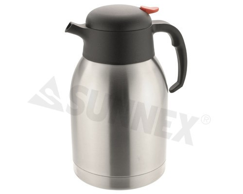 Push Button Vacuum Jug, stainless steel body, 2L