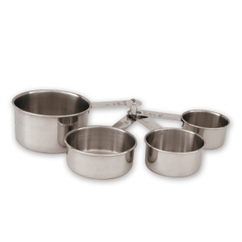 Measuring cups, 4 pce set, stainless steel.